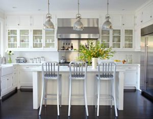 White Kitchen with contrasting Black Floor