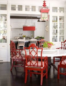 White Kitchen with Red and Black Accents