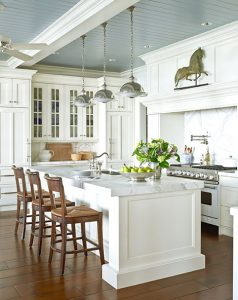 White Kitchen with Blue-Gray Ceiling