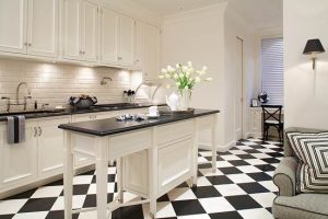 Black-and-White Kitchen with Patterns