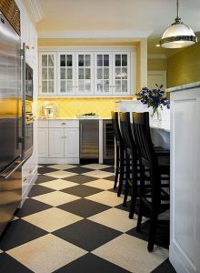 White kitchen with Yellow and Black