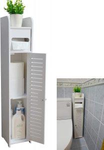 Bathroom storage idea wood shelf