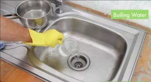 try boiling water to fix clogged drains