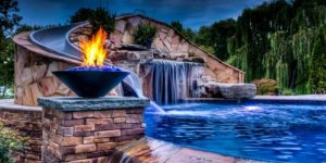 decorate poolside with fire pit