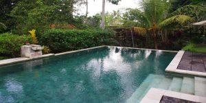 salt water outdoor pool area